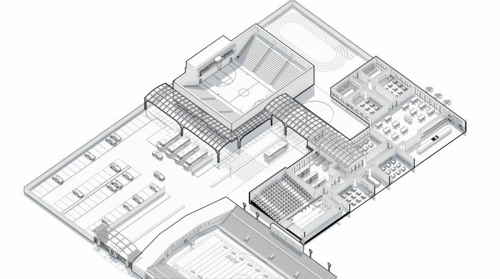3D School Campus Diagram