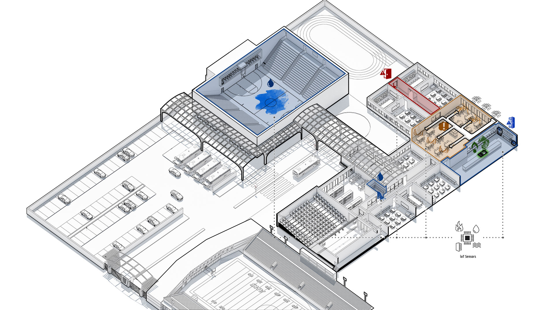 3D School Campus Diagram