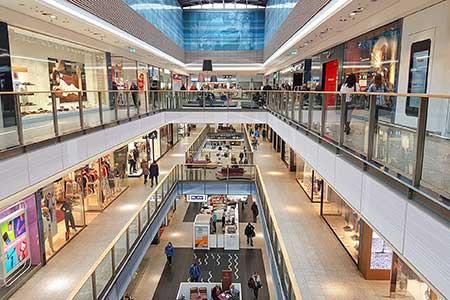 Customers shopping at a mall